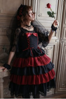Lucky Star Original Red Roses Lace Chiffon Gothic Lolita JSK Dress