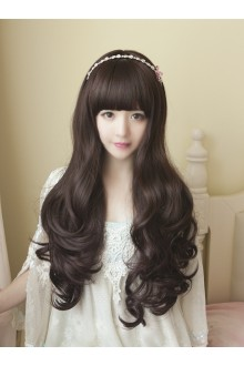 Long Curls Big Curve Straight Bang Lolita Wig 3 Colors