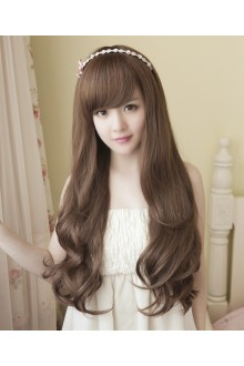 Long Curls Big Curve Slanting Bang Lolita Wig 3 Colors