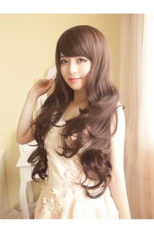 Long Curls Big Curve Slanting Bang Natural Fidelity Lolita Wig 3 Colors