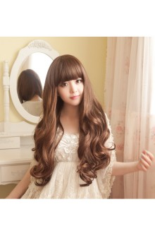 Long Curls Big Curve Straight Bang Natural Fidelity Lolita Wig 3 Colors