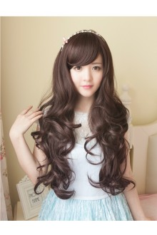 Long Curls Big Curve Natural Fidelity Slanting Bang Lolita Wig 3 Colors