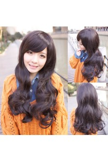 Long Curls Big Curve Natural Fidelity Loose Coil of Hair Slanting Bang Lolita Wig 3 Colors