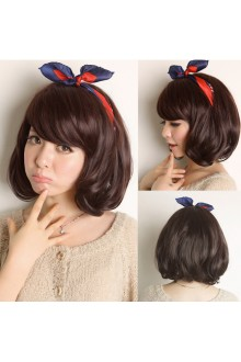 Short Pear Hair Loose Coil of Hair Natural Fidelity Slanting Bang Lolita Wig 3 Colors