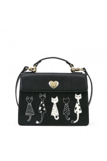 Black Five Cute Cats Printing PU Lolita Shoulder Messenger Bag Handbag