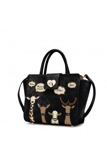 Black Vintage Cute Animals Printing PU Lolita Shoulder Messenger Bag Handbag