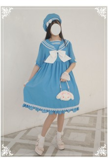Lucky Star Original Sailor Doll Navy Style Chiffon Sailor Lolita OP Dress