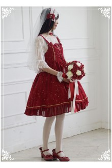 Lucky Star Original Silent Night Star Hot Stamping Chiffon Sweet Lolita JSK Dress 5 Colors