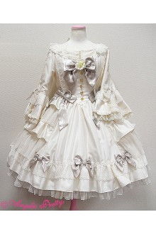 Princess Long Sleeves Puff Sleeves Square Neck Bowknot Flouncing Sweet Lolita Dress 4 Colors
