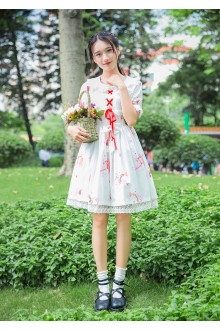 Vintage Musical Instrument Rabbit Printing Short Sleeves Chiffon Sweet Lolita Dress