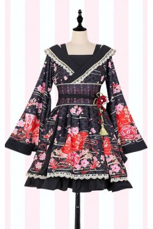 The Plum Flower Sweet Lolita OP Dress and Haori Coat Suit