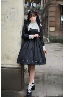 Dark Style Punk Cross High Waist Gothic Lolita OP Dress