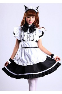 GLP Flouncing Cat Ear High Waist Chiffon Cosplay Lolita Maid Dresses
