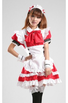 GLP Red Princess High Waist Chiffon Cosplay Lolita Maid Dresses
