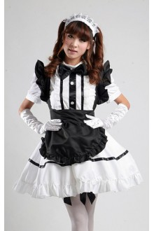 GLP Black Alice in Wonderland High Waist Chiffon Cosplay Lolita Maid Dresses