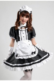 GLP Restaurant Maid Black and White Princess High Waist Chiffon Cosplay Lolita Maid Dress