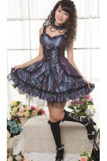 GLP Chiffon Tube Top Flouncing Punk Lolita Suspender Dress