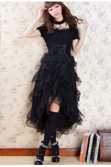 GLP Irregular Chiffon Short Sleeves Punk Lolita Dress