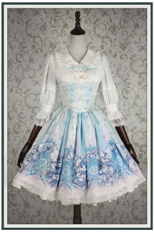 Ista Mori Bunny Alice Half Sleeves Chiffon Sweet Lolita OP Dress