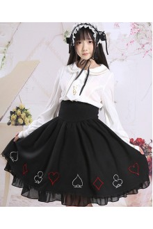 Black Poker Embroidery Slim High Waist Sweet Lolita SK