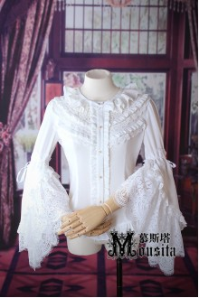 Mousita Black and White Gorgeous Hime Sleeves Lolita Blouse