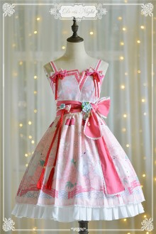 Doris Night Spring Cherry Rabbit Sleeveless Sweet Lolita Suspender JSK Dress 3 Colors