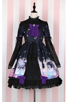 Sweet Swan Lake Printing Long Sleeves Stand Collar Chiffon Lolita OP Dress