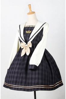 Sweet College Style Long Sleeves Navy Sailor Lolita OP Dress