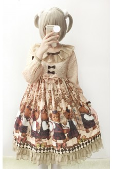 Sweet Fairy Tales Band Bear Long Sleeves Lolita OP Dress