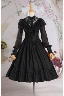 Vintage Palace Slim Fake Two Pieces Long Sleeves Gothic Lolita Dress