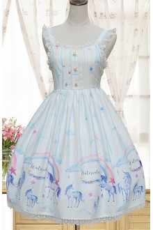 Sweet Unicorn Printing High Waist Chiffon Sleeveless Lolita JSK Dress