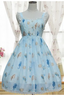 Sweet Song of Starfish Printing High Waist Sleeveless Sweet Lolita JSK Dress