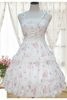 Sweet Floral Printing High Waist Sleeveless Chiffon Sweet Lolita JSK Dress
