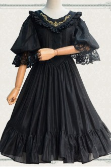 Fairy Three-quarter Sleeves V-neck Chiffon Gothic Lolita OP Dress