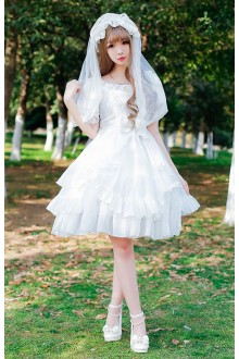 Sweet Princess Organza Chiffon High Waist Slim Lolita Dress
