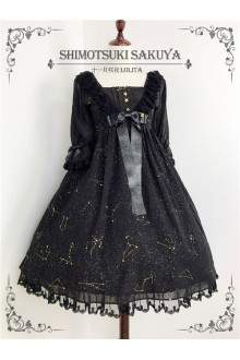Shimotsuki Sakuya The Whisper of Stars Hot Stamping Chiffon Sweet Lolita OP Dress