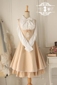 Champagne Cotton Sleeveless Breast Care Classic Lolita Jumper Dress