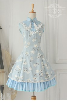 Vintage Chinese Orchid Flounced Stand Collar Classic Lolita OP Dress