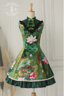 Vintage Chinese Lotus Flounced Stand Collar Classic Lolita OP Dress