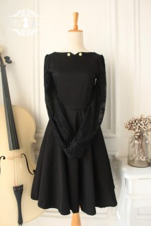 Black Vintage Downton Abbey Lace Gothic Classic Lolita Dress