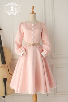 Vintage Hepburn Impression Elegant Long Sleeves Sweet Classic Lolita Dress