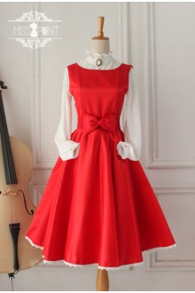 Red Vintage Hepburn Impression Elegant Classic Lolita Dress