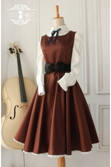 Coffee Vintage Hepburn Impression Elegant Classic Lolita Dress