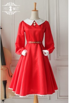 Red Vintage Hepburn Impression Elegant Long Sleeves Classic Lolita OP Dress