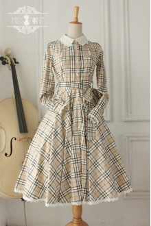 Vintage Hepburn Impression Elegant Grid Long Sleeves Classic Lolita OP Dress