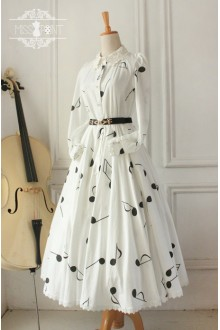 Vintage Hepburn Impression Elegant Musical Note Long Sleeves Classic Lolita OP Dress