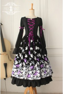 Vintage Halloween Style Long Sleeves Gothic Lolita OP Dress