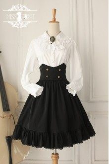 Black Vintage College Style High Waist Fishbone Gothic Lolita SK