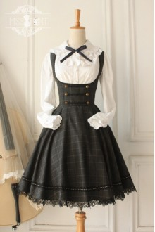 Vintage Earl Grey Tea College Style Wool Care Chest Grid Classic Lolita Jumper Dress