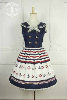 Sweet College Style Sleeveless Sailor Lolita Dress